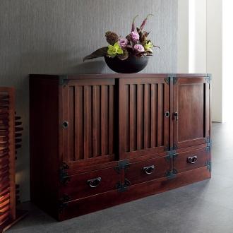 和空間を手軽に叶える 民芸調 リビング収納シリーズ 水屋箪笥