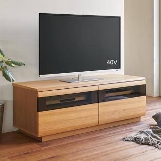 オーク材ブロンズガラスアールデザインシリーズ テレビ台 幅120cm