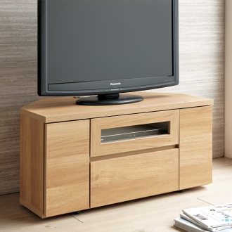天然木調お掃除がしやすいコーナーテレビ台 幅90cm