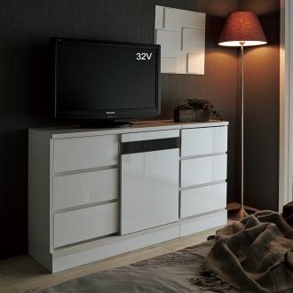 光沢引き戸テレビボード チェスト 幅40cm