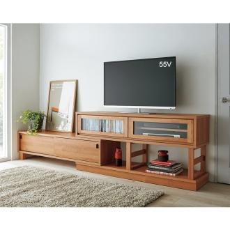 北欧調コーナーでも使える伸長式テレビボード 幅160~270cm