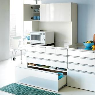 大型レンジ対応ステンレスキッチン収納 キッチンボード幅119cm