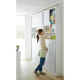 省スペースOK! 突っ張り式 薄型 引き戸 キッチン収納 食器棚 奥行30cmタイプ 幅120cm