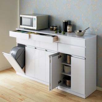 光沢仕上げ腰高カウンター収納シリーズ キッチン収納庫 幅55.5cm 通販 - ディノス