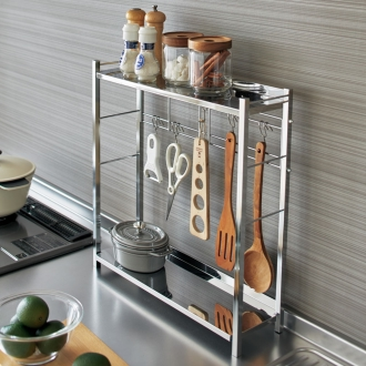 調理グッズをまとめてスムーズ 調理の動線を考えた コンロサイド キッチンラック