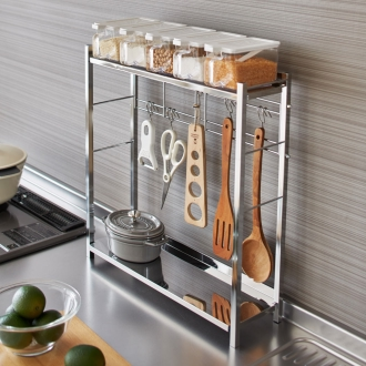 調理グッズをまとめてスムーズ 調理の動線を考えた コンロサイド キッチンラック ポット5個付き