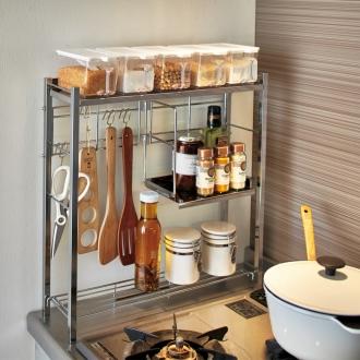 調理グッズをまとめてスムーズ コンロサイド キッチンラック ポット5個・ハーフ棚付き