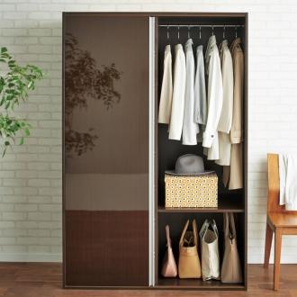 衣類をまとめて収納できる光沢仕上げタワーチェストクローゼットハンガー 幅120cm