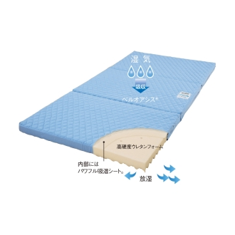 持ち運びがラクな 2段ベッド用高硬度・軽量・除湿三つ折りマットレス 分割式タイプ 厚さ7cm