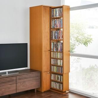 本格派 スライド収納書棚 AV収納庫 2列 幅44cm(コミック・文庫本・CD・DVD対応)