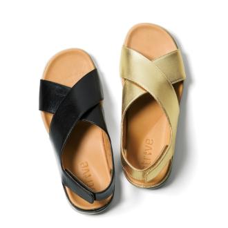 力争/条纹凉鞋威尼斯皮凉鞋
