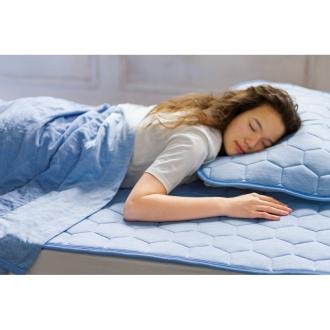 ディノス オンラインショップダブル4点(ひんやり除湿寝具 デオアイスシリーズ お得な掛け敷きセット(ピローパッド付))ブルー