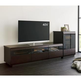 オーク材ブロンズガラスアールデザインシリーズ テレビ台 幅150cm