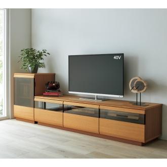 オーク材ブロンズガラスアールデザインシリーズ テレビ台 幅180cm