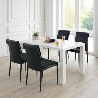 UV塗装モダンダイニング お得な5点セット(テーブル幅140cm+モダンデザインチェア同色2脚組×2)