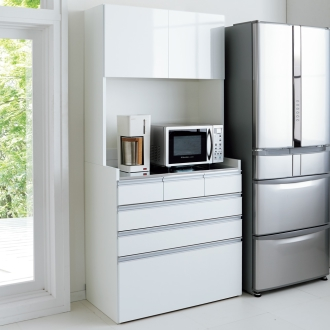 大型レンジ対応ステンレスキッチン収納 キッチンボード幅90cm