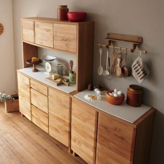 アルダー無垢材キッチン収納 アールシリーズ キッチンボード 幅120cm
