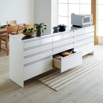 キッチンマットを避けられる お掃除ラクラクステントップ間仕切りカウンター 幅90cm