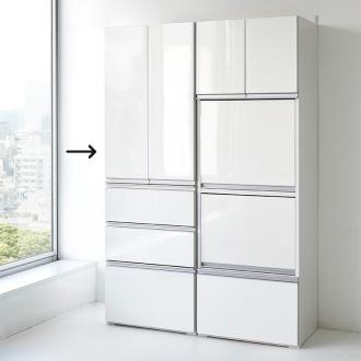 組立不要!家電を隠せるキッチン収納シリーズ 食器棚幅59.5cm