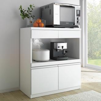 キッチン家電が使いやすい!モイス付きステンレストップ ハイカウンター 幅90cm