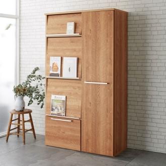 おしゃれな天然木調隠せる家電収納庫 ハイタイプ 奥行45.5cm