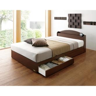 【セミダブル】フランスベッド天然木棚付き引き出しベッド