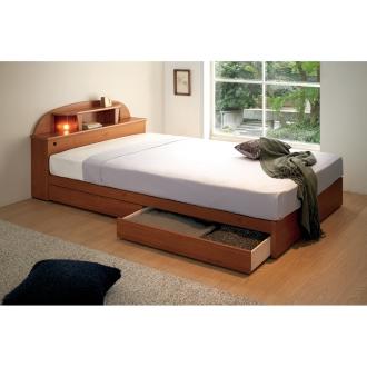 【ダブル】 フランスベッド 棚・照明付ベッド 羊毛入りマットレス付