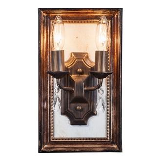 ディノス オンラインショップ壁掛けもできるLED照明 アンティーク調 フレーム付ランプ 2灯ブラウン