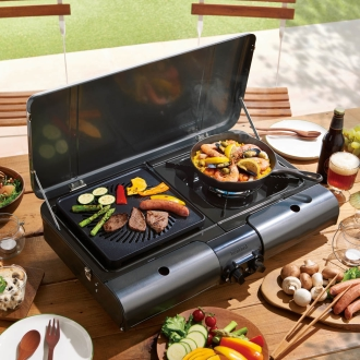 Even outdoors it can also be used in indoor 2 burner 2 grill of cassette BBQ grill