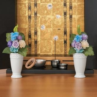 樹脂加工プリザーブド仏花(花器付き) 小
