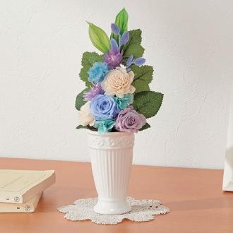 樹脂加工プリザーブド仏花 ブルー(花器付き) 大
