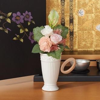 樹脂加工プリザーブド仏花 ピンク(花器付き) 小