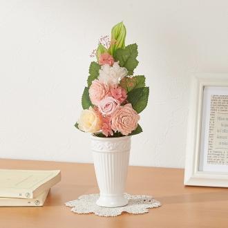樹脂加工プリザーブド仏花 ピンク(花器付き) 大
