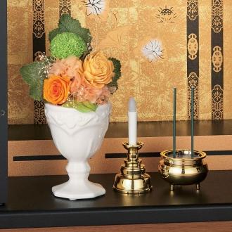 花器付き・大(樹脂加工プリザーブド仏花)