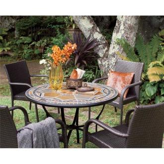 天然石ラウンドテーブル&チェア 大5点セット(大テーブル+チェア4脚)