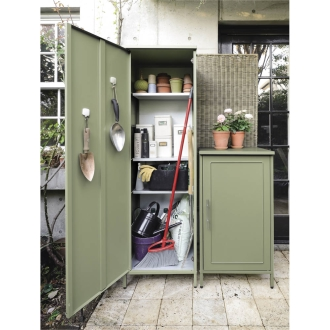 欧風収納ベンチ&収納庫〈セージグリーン〉 収納庫スリム 高さ168cm