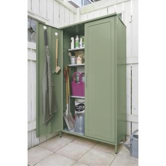 欧風収納ベンチ&収納庫〈セージグリーン〉 収納庫 高さ168cm