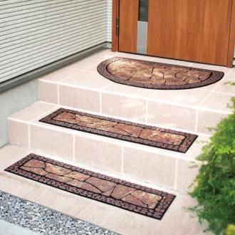 ディノス オンラインショップドイツ製玄関マット(1枚)&階段マット(2枚) お得なセットブラウン