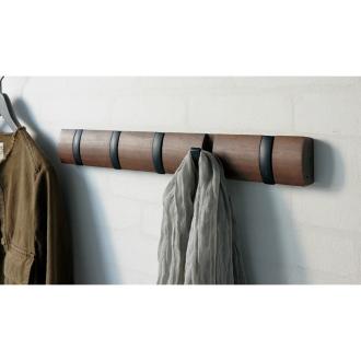 5連 ダークブラウン×ブラックフック(umbra 壁掛けハンガー フリップフック)
