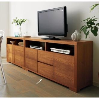 ナラ天然木化粧合板 テクスチャーテレビ台キャビネット 幅140cm