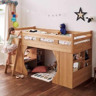 アルダー天然木システムベッド(書棚・ローデスク・ベッド3点セット)