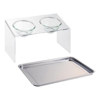 アクリル製ペットフードテーブル テーブル M(トレー付き)