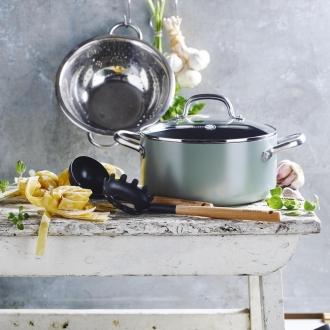 GREEN PAN / green bread series casserole / pot both hands (with glass lid)