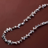 Silver gray.  Frill  Pearl  Long necklace.