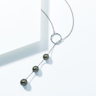 SV 8~10mm black butterfly Pearl Long pendant