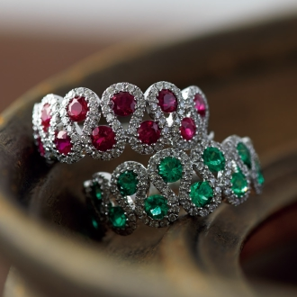 [1.2ct紅寶石] K18WG彩石金剛石環設計