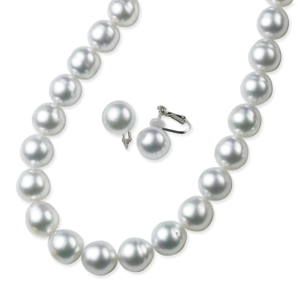 White butterfly baroque Pearl 2 Piece Set