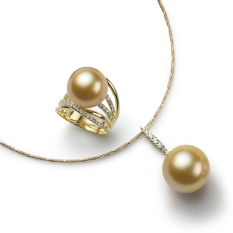 K18 13 · 14mm Gold Pearl 2 Piece Set