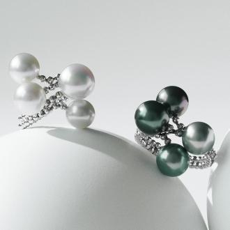 科比Kyukyoryuchi K18WG白蝴蝶,黑蝴蝶珍珠戒指