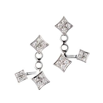 K18WG 0.5ct钻石广场夹克耳环